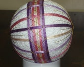 Temari Ball Ornament Bands of Pink and Purple on White
