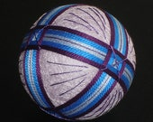 Rattling Temari Ball Ornament Bands of Purple and Blue