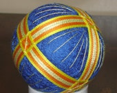 Temari Ball Ornament Bands of Orange and Yellow on Blue