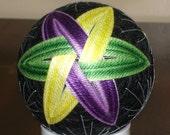 Temari Ball Ornament Purple Green Yellow Spindles