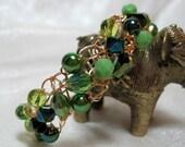 Basic Green Bead Bracelet, handmade beaded wire crochet jewelry, green beadwork bracelet