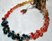 Yellow, Orange and Teal Blue Ombre Beaded Necklace Set, handmade crochet wire jewelry, colorblocked ombre beadwork necklace