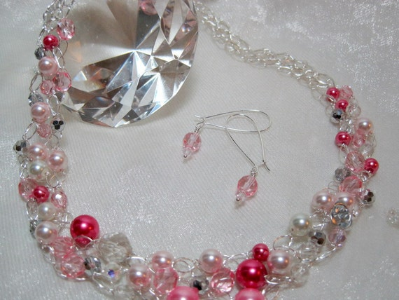 Silver and Pink Bead Necklace Set, crochet wire necklace, handmade beaded jewelry