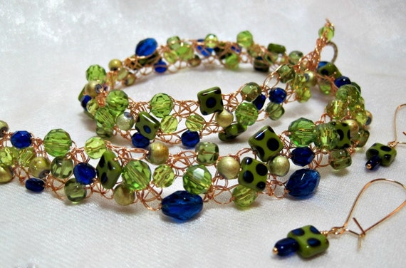 Lime Green and Cobalt Blue Wire Crochet Beaded NecklaceSet, handmade bead crocheted jewelry, beadwork necklace