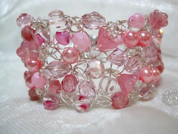 Pink Beaded Bracelet, handmade bead crocheted wire jewelry, pink beadwork bracelet