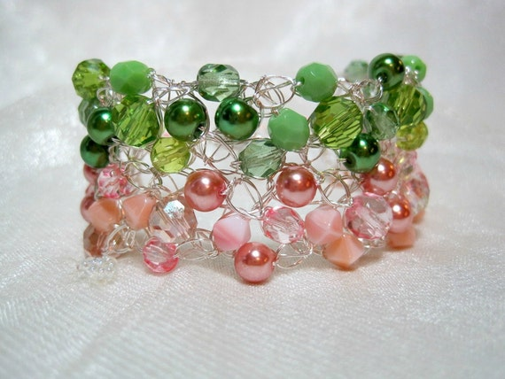 Pink and Green Beaded Bracelet, handmade crochet wire jewelry