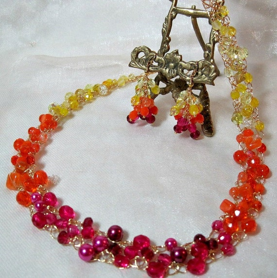 Wire Crochet Beaded Necklace Set in Yellow, Orange and Hot Pink Ombre, handmade bead jewelry, beadwork necklace