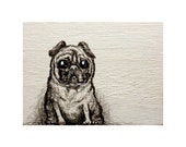 """Collectors Edition - Numbered Wood Chest  Handpainted Chest """" Pug """""""