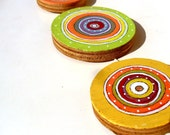 Handpainted Art Circles Garland - Cottage Decor- 3 handpainted Wood Art Circles