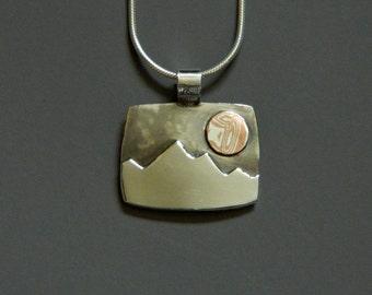 "Mixed metal jewelry- silver and mokume pendant ""Glowing Peaks"""
