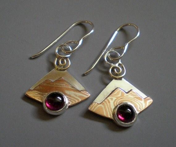 Mokume Gane Earrings: Mixed Metal Jewelry Dangle Earrings Silver And Mokume Gane