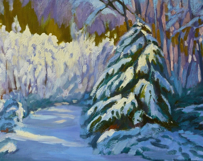 Snow on Cedar Oakridge Oregon Original Oil Painting