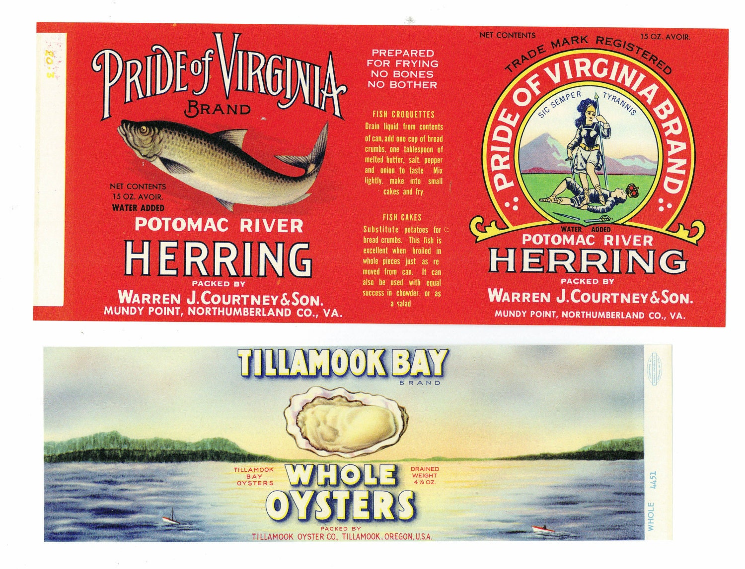 Vintage seafood can labels for Classic house labels