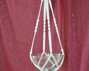 """Hand Crafted Macrame Plant Hanger- White 35"""""""