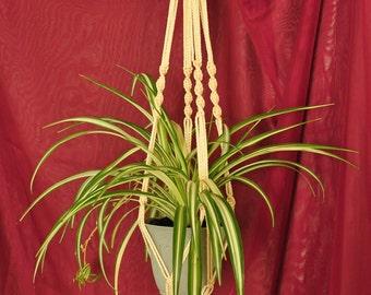 "Hand Crafted Macrame Plant Hanger- Cream 35"""