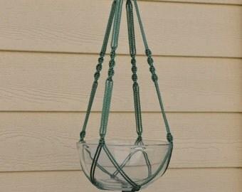 "Hand Crafted Macrame Plant Hanger- Sage 35"""