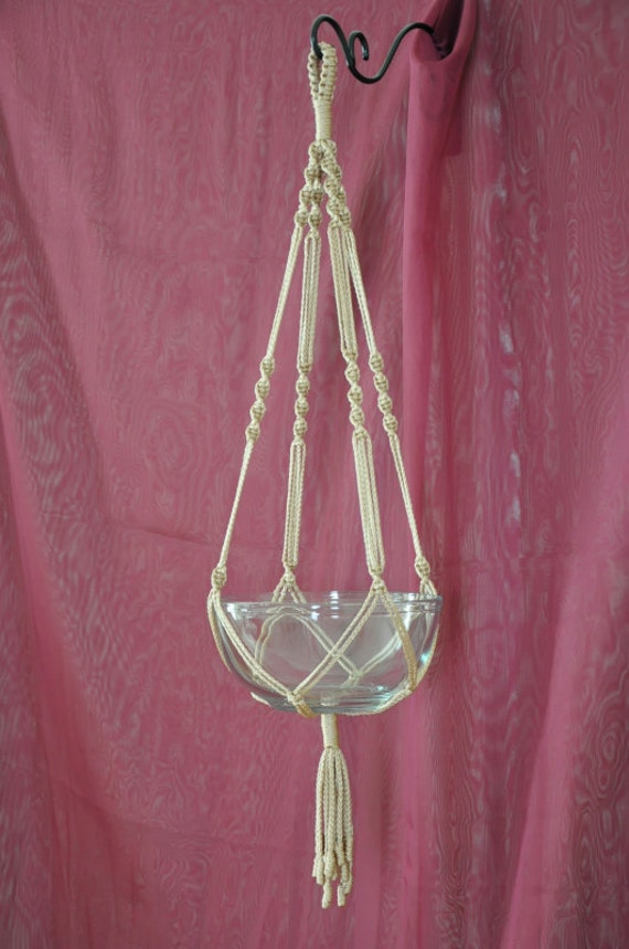 Hand Crafted Macrame Plant Hanger- Pecan