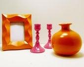 vase, picture frame, candle holders  //  orange hot pink  //  upcycled home decor  //  modern pop color
