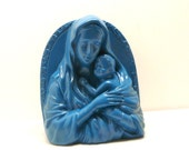 virgin mary ceramic planter  //  vintage religious statue, teal blue home decor garden, upcycled ceramics, kitsch, mother child