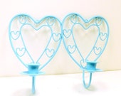 heart wall sconces set   //  turquoise aqua blue  //  taper candle holders  //  upcycled wall decor, hearts, metalwork, spring