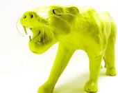 painted tiger figurine  //  neon lime green chartreuse, upcycled accessories, funky home decor, neon, safari, jungle, animal accents