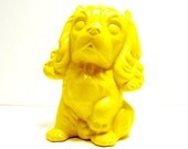 ceramic dog figurine vintage //  retro yellow home decor  //  puppy, dogs, bright housewares,  upcycled home decor, figurines