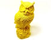bright yellow owl figurine, fall decor  //  upcycled owls, bird figurines, 70s, mod, yellow housewares, woodland decor, kitsch, pop