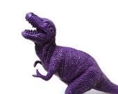 plastic dinosaur, violet, kids decor, upcycled toy, kitsch figurine, altered art, purple home decor, science, geekery, nerd, dinosaurs