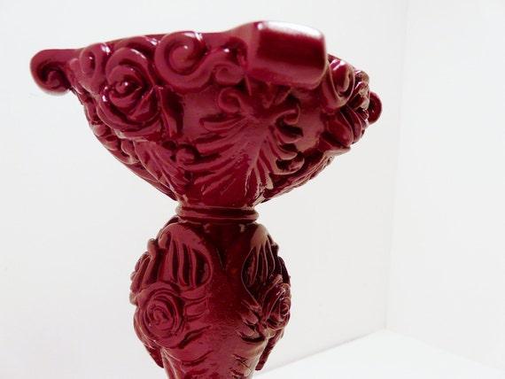 ornate pedestal candle holder  //  burgundy wine pink  //  upcycled home decor  //  victorian rose pillar candlestick