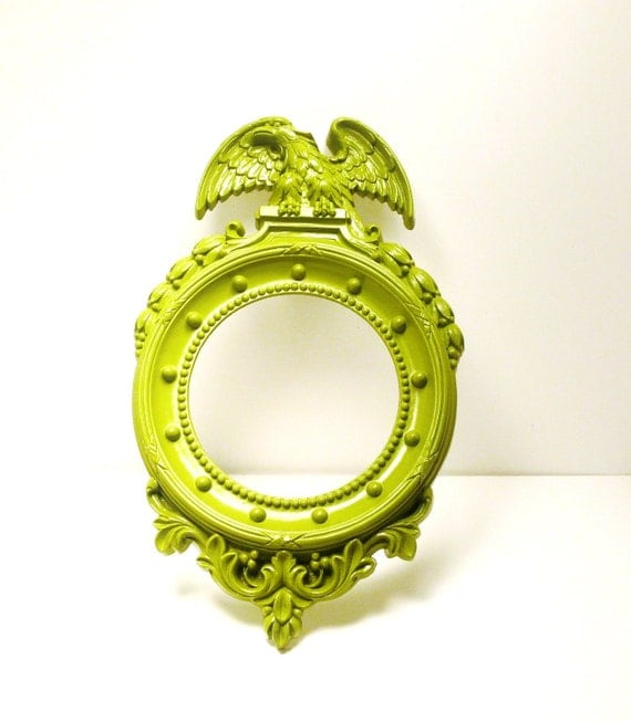 mid century eagle decorative mirror  //  vintage avocado green home decor  //  upcycled wall hanging, mirrors, eagles, bright housewares