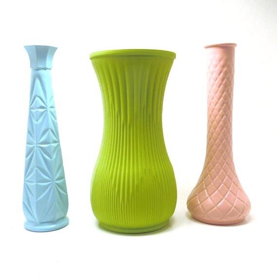 milk glass vases, weddings, pastels, nursery decor, upcycled, vintage vase collection, wedding decorations, aqua, pastel green, pale pink