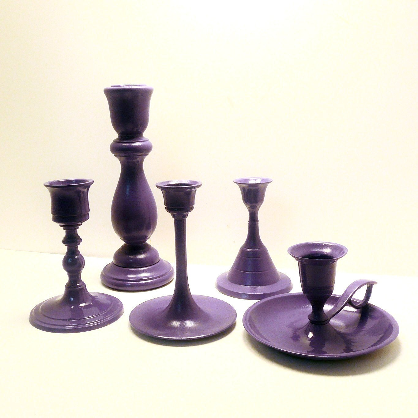 purple candle holders taper candlestick set by nashpop With what kind of paint to use on kitchen cabinets for mini taper candle holders