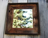 Rustic Reclaimed Wood Mirror in Vintage Wood Frame. Barn Wood Salvaged Wood Frame. Brown Rustic Wood Frame
