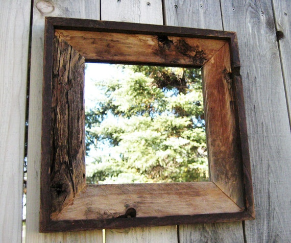 Items Similar To Rustic Reclaimed Wood Mirror In Vintage
