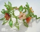 Garden Delight  Bracelet Crocheted Wire with Carnelian Flowers - dragonswire