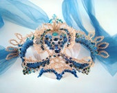 "Crocheted Wire Mask  "" Blu Muse "" Swarovski Crystals Beaded Mesh"
