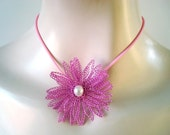 Crocheted Wire Necklace 3D Fantasy Flower in Pink White Freshwater Pearl Center Rubber Cord Hair Ornament or Brooch OOAK