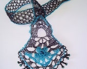 Crocheted Wire Lace Bookmark Black and Turquoise Blue