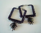 Crocheted Wire Square Hoops Midnight Skies with Stars