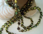 Baroque Coin Pearl Necklace in Green and Gold with Faceted Smokey Topaz