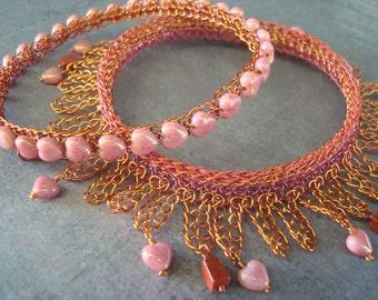 Crocheted Wire Bangles Dangling Hearts Bracelet Modern Charm Loopy Heartfelt Ombre Coral Glass Red Jasper