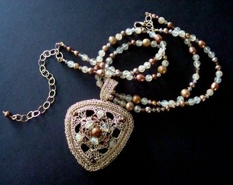 Custom Crocheted Wire Pendant Necklace semi precious stones pearls and Swarovski crystals Golden Mean Removable Medallion 3 Dimensional