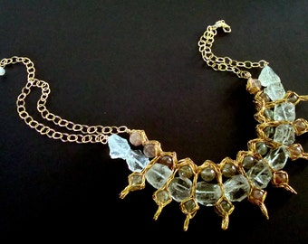 On Hold For Judy  ------  Crocheted Wire Necklace Mystic Ice Crystal Quartz
