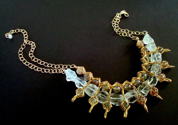 Crocheted Wire Necklace Mystic Ice Crystal Quartz