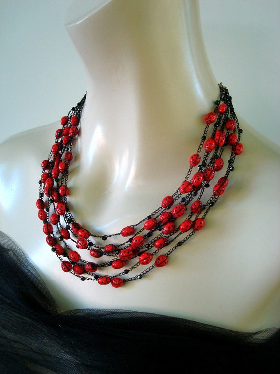 Crocheted Necklace Ladybug Parade Black and Red