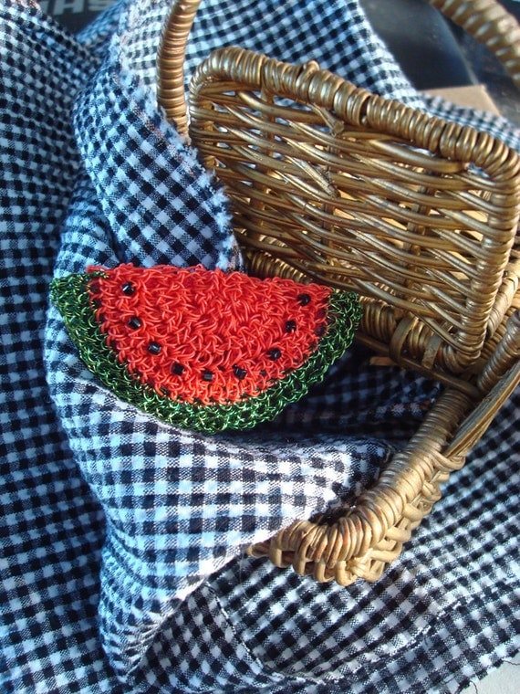 Crocheted Wire Watermelon Brooch hollow form construction Classic Fruit fruity red and green Summertime fun
