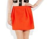 Signal-Orange Pleated Mini Skirt