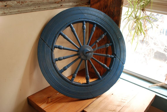 Antique Blue Rustic Wooden Spinning Wheel