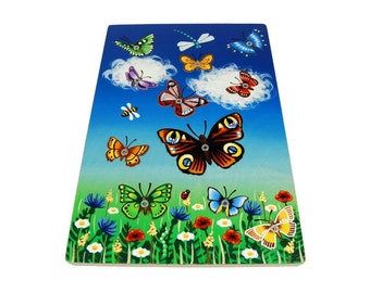 Hand painted wooden butterfly game (for age 2 -3 )