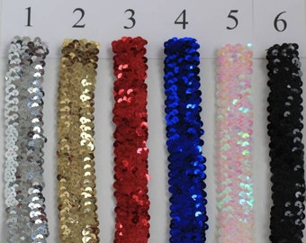 SET of 5  -1 inch wide SEQUIN Stretch BRACELETS - Available in 20 colors -  Free Shipping Perfect for the Holidays